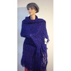 Étole tricotée, franges Mohair